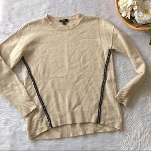 J.Crew Cream Knit Sweater with Beaded Sides